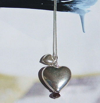 Heart and mini heart necklace