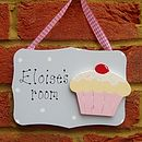 Girls Personalised Cupcake Door Plaque Sign