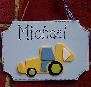 Boys Personalised Digger Door Plaque