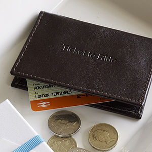 'Ticket To Ride' Travel Card Holder - 3rd anniversary: leather