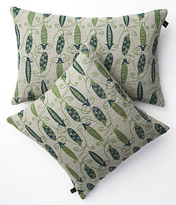 100% Irish Linen Hand Printed Cushion Peas - cushions
