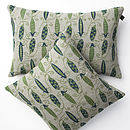 100% Irish Linen Hand Printed Cushion Peas