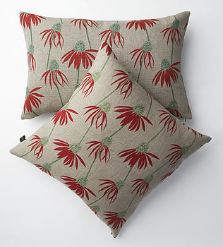 IRISH LINEN CUSHION ECHINACEA