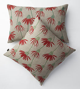 Irish Linen Hand-Printed Cushions Echinacea - patterned cushions