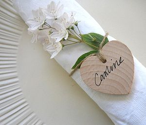 Set Of Five Wooden Heart Wedding Place Names - rustic wedding ideas