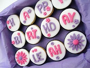 12 Happy Birthday Cupcakes - 60th birthday gifts