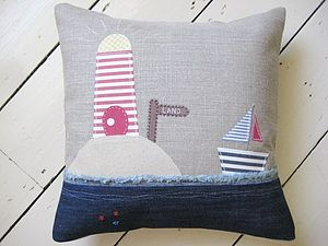 Handmade Linen Applique Lighthouse Cushion - cushions