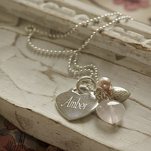 Personalised Vintage Rose Necklace - wedding jewellery