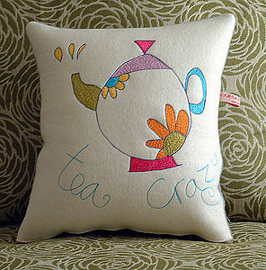 Personalised Tea Crazy Cushion - bedroom