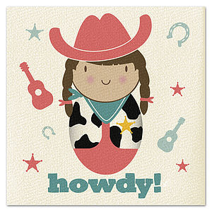 Cowgirl Howdy! Card - birthday cards