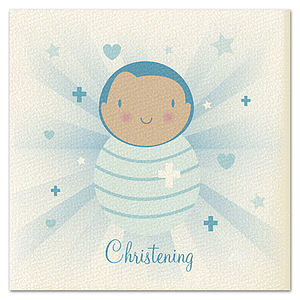 Boys 'Beams' Christening Card