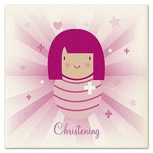 Girls 'Beams' Christening Card