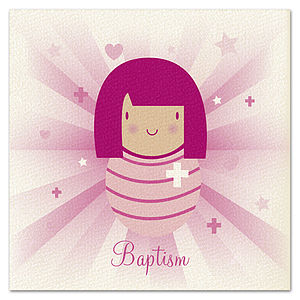 Girls 'Beams' Baptism Card