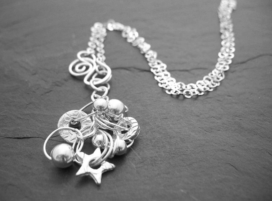 Long Sterling Silver Charm Necklace By Lucy Kemp Silver