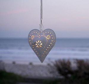 Hanging Heart Tea Light Lantern - candles & candlesticks
