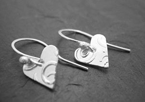 Silver Textured Heart Earrings - earrings