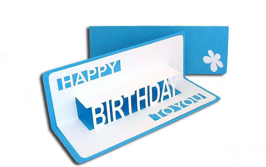 Happy birthday to you pop up card by ruth springer design birthday pop up card sky blue bookmarktalkfo Image collections