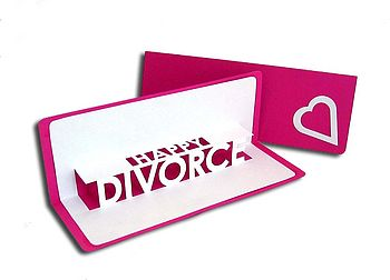 Happy Divorce Pop Up Card Pink