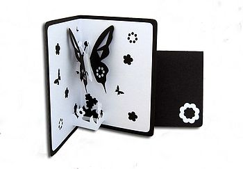 Butterfly Pop Up Card Black
