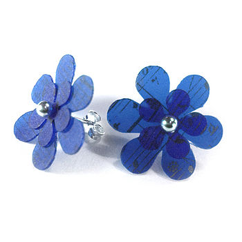 Flower Blue Music Studs
