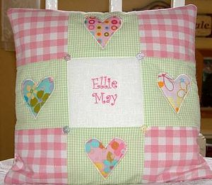 Funky Patchwork Hearts Cushion - soft furnishings