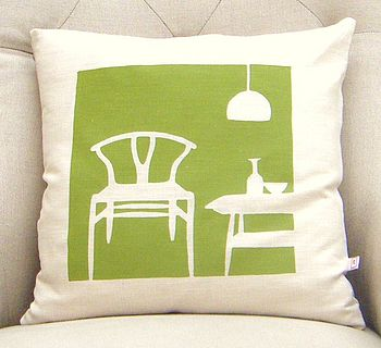 green wishbone cushion