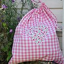 Pink Gingham Laundry Bag