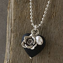 Dusty Black Glass Heart Necklace