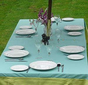 Two Tone Tablecloth With Central Hole - bed, bath & table linen