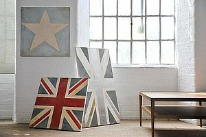 Hand-Painted Square Union Jack Or Star Canvas - blow the budget for her