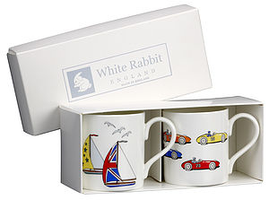 Yacht and Racing Car Cup Set