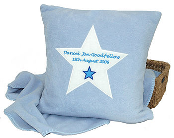 Blue applique cushion