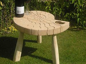 Hand Carved Oak Ammonite  Table - garden furniture
