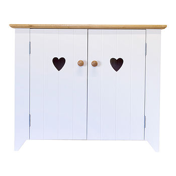 double pot cubby - heart cut-outs/white