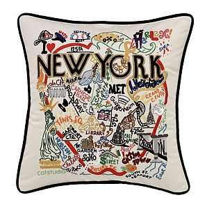 New York Catstudio Hand Embroidered Cushion