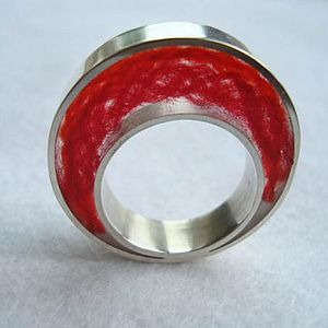 Handmade Silver and Red Wool Ring - rings