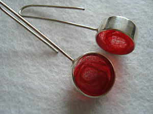 Handmade Silver and Red Wool Earrings - earrings