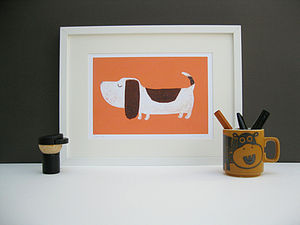 Bertie the Basset Hound Fine Art Print - prints for christmas