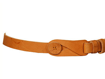 Leather Button Belt Tan