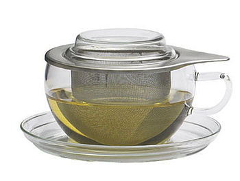 Glass cup set with stainless steel strainer