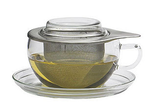 Glass cup set with stainless steel strainer - cups & saucers