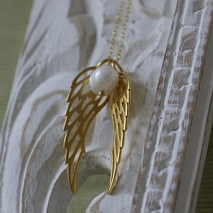 Gold And Pearl Angel Wings Necklace