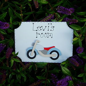 Boys Personalised Motorbike Door Plaque