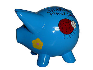 Personalised Piggy Bank - Blue