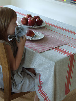 Linen Tablecloth Natural Red Striped Provence