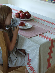 Tablecloth Natural Striped Linen Provence - tableware