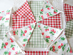 Strawberries & Gingham Bunting - bunting & garlands