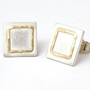 Handmade Studs With 18ct Yellow Gold Detail - earrings