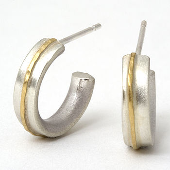 Small Hoop Earrings With 18ct Gold Detail
