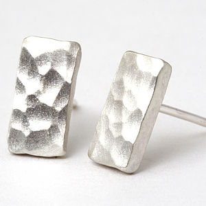 Small Hammered Sterling Silver Stud Earrings